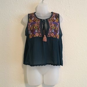 {Freepeople} embroidered boho top